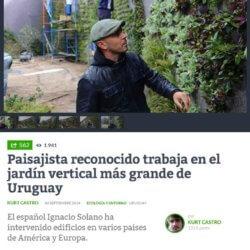 Ignacio Solano construye el jardín vertical más grande de Uruguay